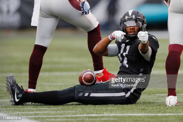 QuintonPatton of the Birmingham Iron signals for a first down during the first half against the San Antonio Commanders in an Alliance of American...