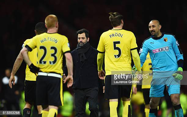 Quique Flores manager of Watford after the Barclays Premier League match between Manchester United and Watford at Old Trafford on March 2 2016 in...