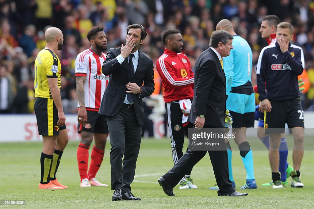 Quique Flores manager of Watford applauds supporters after the Barclays Premier League match between Watford and Sunderland at Vicarage Road on May 15, 2016 in Watford, England.