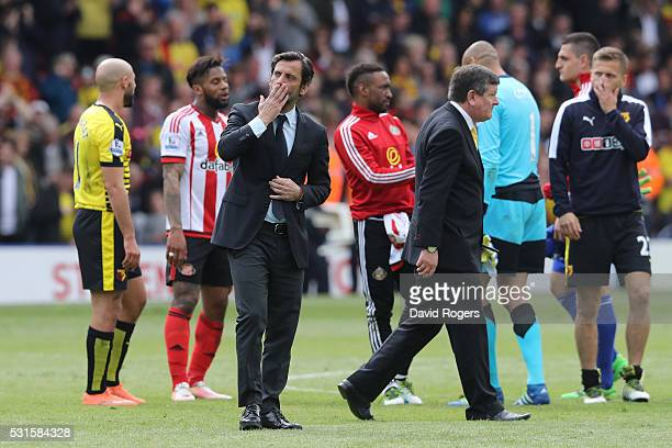 Quique Flores manager of Watford applauds supporters after the Barclays Premier League match between Watford and Sunderland at Vicarage Road on May...