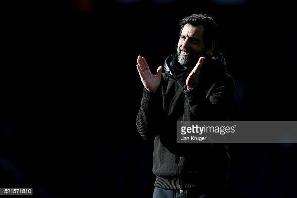 Quique Flores manager of Watford celebrates following the Barclays Premier League match between West Bromwich Albion and Watford at The Hawthorns on...