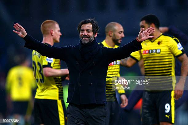 Quique Flores manager of Watford celebrates his team's 21 win in the Barclays Premier League match between Crystal Palace and Watford at Selhurst...
