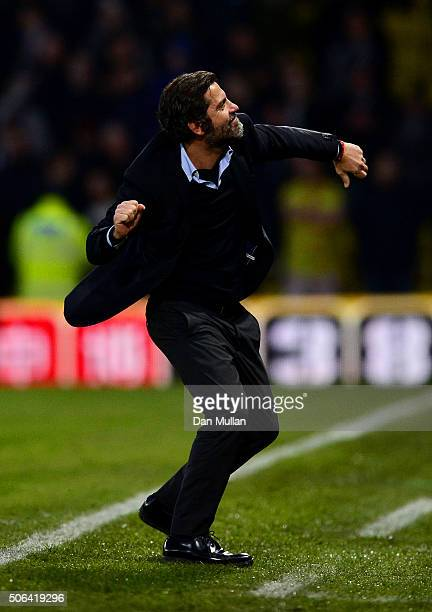 Quique Flores manager of Watford celebrates his team's win in the Barclays Premier League match between Watford and Newcastle United at Vicarage Road...