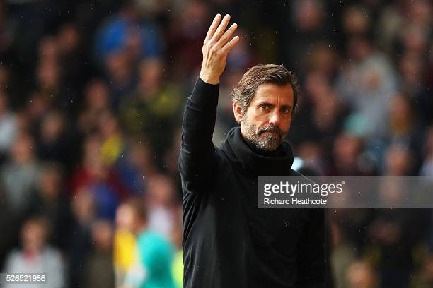 Quique Flores manager of Watford gestures during the Barclays Premier League match between Watford and Aston Villa at Vicarage Road on April 30 2016...