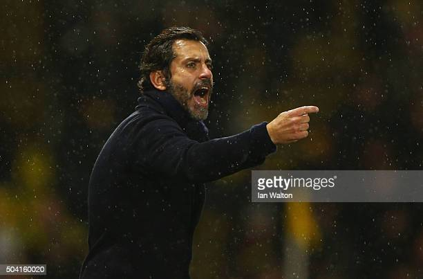 Quique Flores manager of Watford gestures during the Emirates FA Cup Third Round match between Watford and Newcastle United at Vicarage Road on...