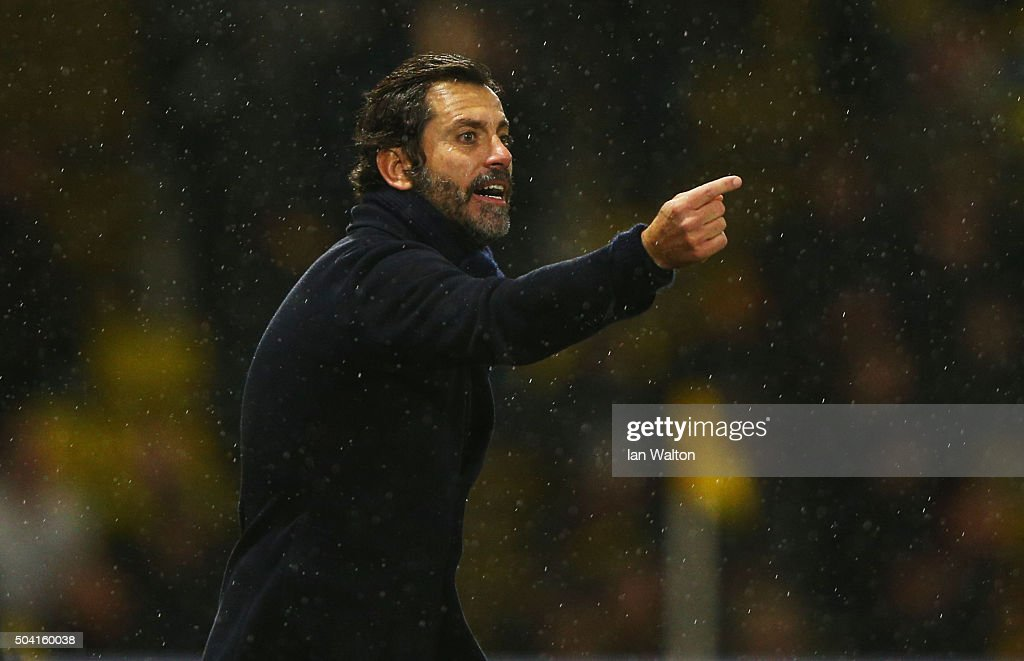 Quique Flores manager of Watford gestures during the Emirates FA Cup Third Round match between Watford and Newcastle United at Vicarage Road on January 9, 2016 in Watford, England.