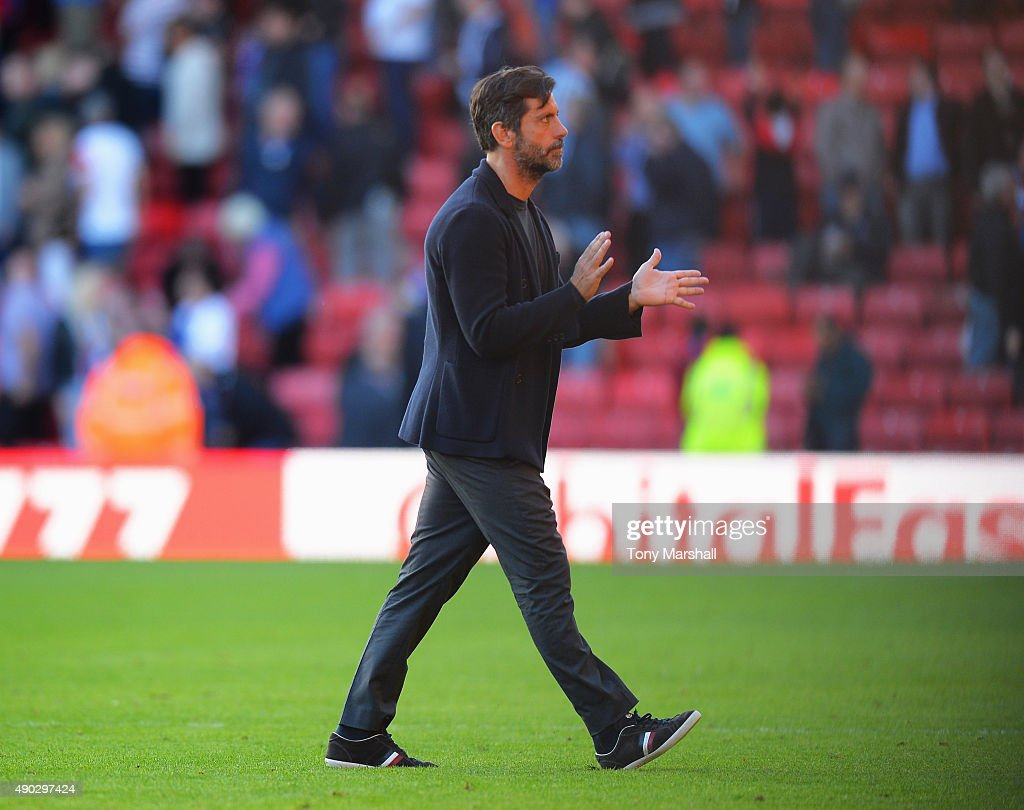 Quique Flores manager of Watford looks on after defeat in the Barclays Premier League match between Watford and Crystal Palace at Vicarage Road on September 27, 2015 in Watford, United Kingdom.