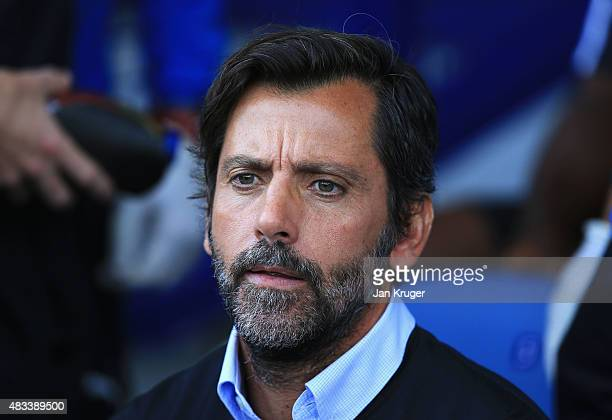 Quique Flores manager of Watford looks on during the Barclays Premier League match between Everton and Watford at Goodison Park on August 8 2015 in...