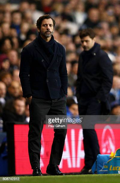Quique Flores manager of Watford looks on during the Barclays Premier League match between Tottenham Hotspur and Watford at White Hart Lane on...
