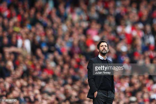 Quique Flores manager of Watford looks on during the Barclays Premier League match between Arsenal and Watford at Emirates Stadium on April 2 2016 in...