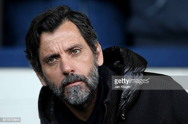 Quique Flores manager of Watford looks on during the Barclays Premier League match between West Bromwich Albion and Watford at The Hawthorns on April...