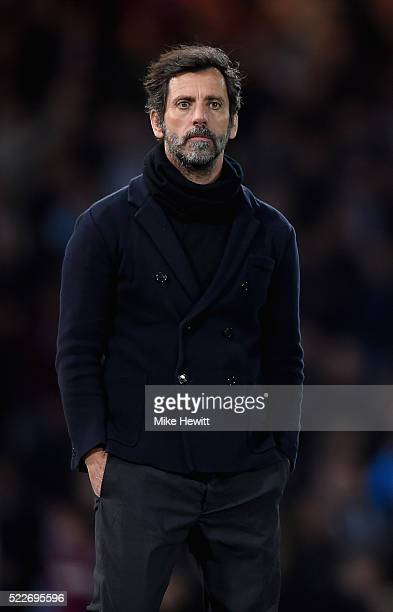 Quique Flores manager of Watford looks on during the Barclays Premier League match between West Ham United and Watford at the Boleyn Ground April 20...