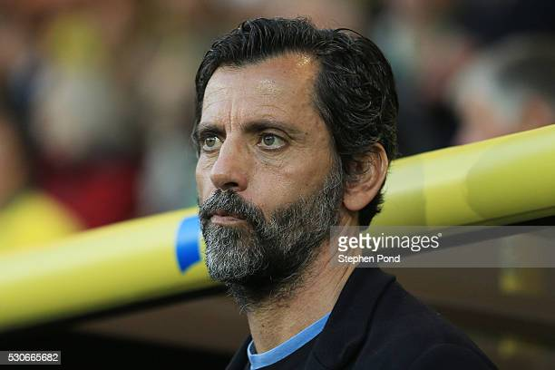 Quique Flores manager of Watford looks on during the Barclays Premier League match between Norwich City and Watford at Carrow Road on May 11 2016 in...