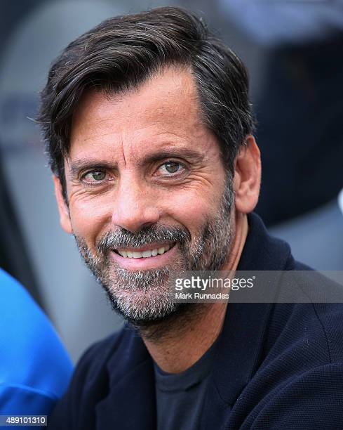 Quique Flores manager of Watford looks on prior to the Barclays Premier League match between Newcastle United and Watford at St James' Park on...