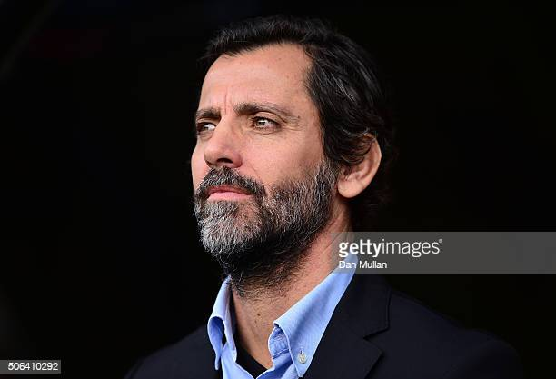 Quique Flores manager of Watford looks on prior to the Barclays Premier League match between Watford and Newcastle United at Vicarage Road on January...