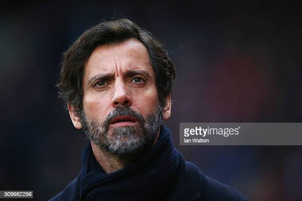 Quique Flores manager of Watford looks on prior to the Barclays Premier League match between Crystal Palace and Watford at Selhurst Park on February...