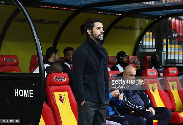 Quique Flores manager of Watford looks on prior to the Emirates FA Cup Third Round match between Watford and Newcastle United at Vicarage Road on...