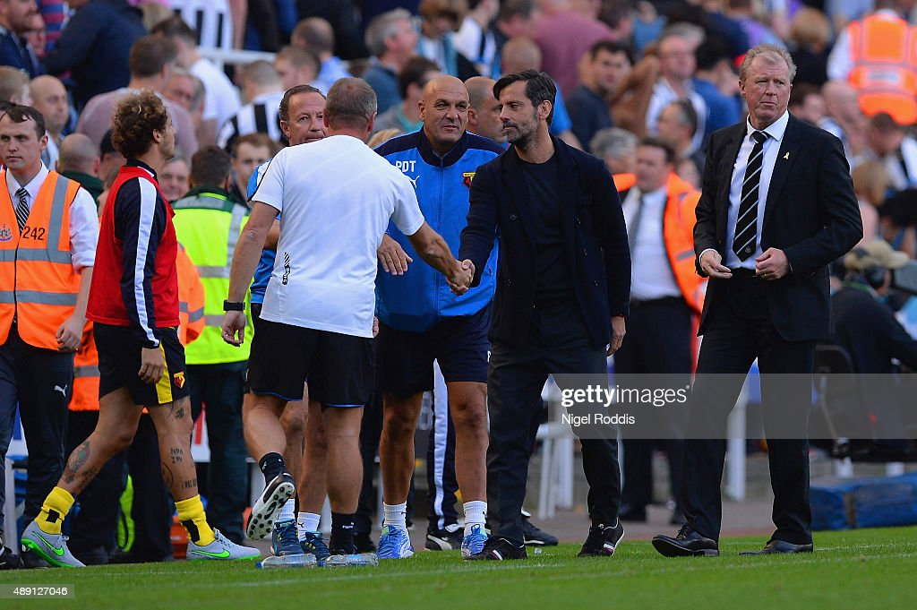 Quique Flores (2nd R) manager of Watford reacts after his team's 2-1 win in the Barclays Premier League match between Newcastle United and Watford at St James' Park on September 19, 2015 in Newcastle upon Tyne, United Kingdom.