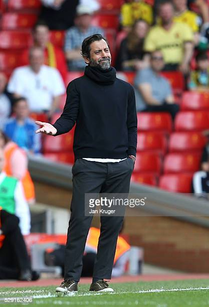 Quique Flores manager of Watford reacts from the touchline during the Barclays Premier League match between Liverpool and Watford at Anfield on May 8...