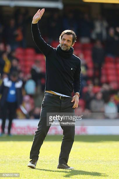 Quique Flores manager of Watford thumbs up after his team's 32 win in the Barclays Premier League match between Watford and Aston Villa at Vicarage...
