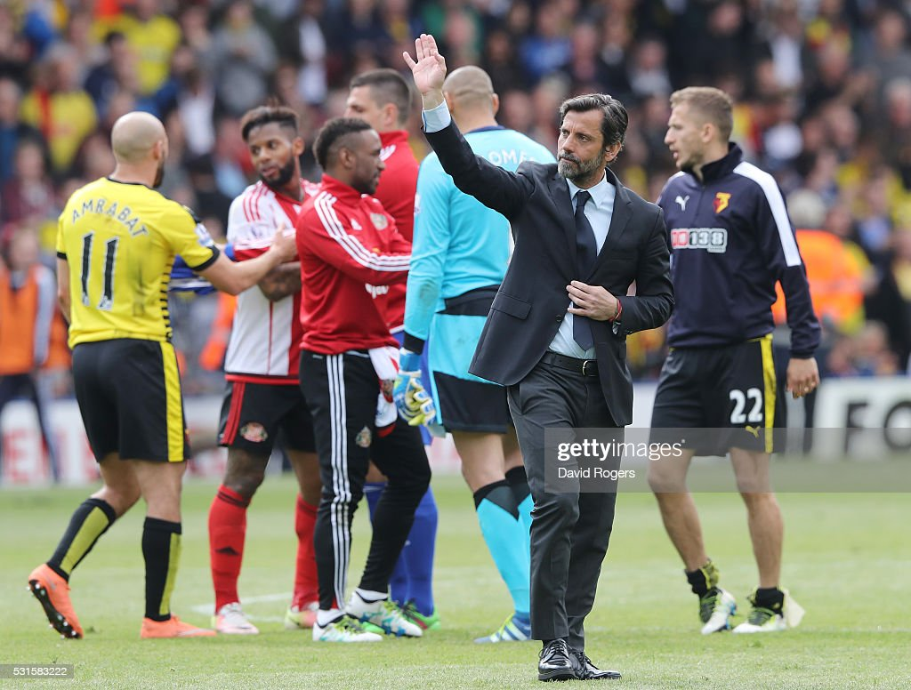 Quique Flores manager of Watford waves to supporters as a farewell after the Barclays Premier League match between Watford and Sunderland at Vicarage Road on May 15, 2016 in Watford, England.