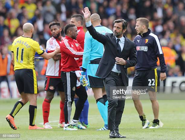 Quique Flores manager of Watford waves to supporters as a farewell after the Barclays Premier League match between Watford and Sunderland at Vicarage...
