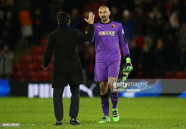 Quique Flores the manager of Watford and Goalkeeper Heurelho Gomes of Watford celebrate following the 00 draw during the Barclays Premier League...