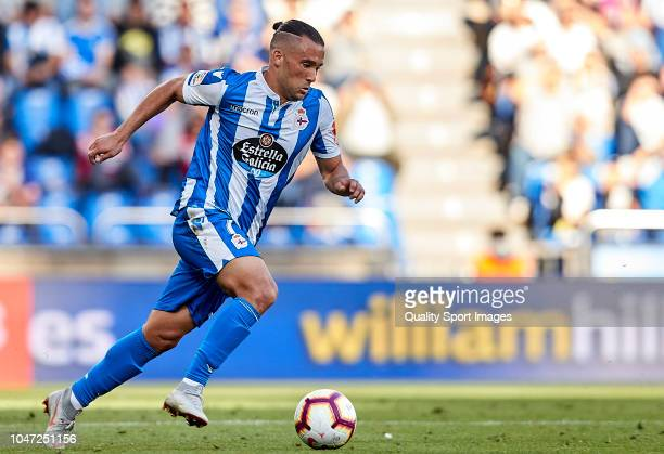 Quique Gonzalez of Deportivo de La Coruna in action during the La Liga 123 match between Deportigo de La Coruna and Malaga CF at Abanca Riazor...