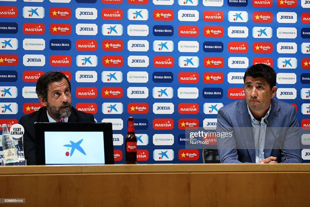 Quique Sanchez Flores and Angel Gomez in the presentation of the new trainer of the RCD Espanyol, on june 13, 2016.