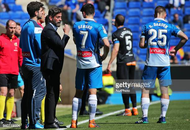 Quique Sanchez Flores and Gerard Moreno during the match between RCD Espanyol and Depoortivo Alaves for the round 30 of the Liga Santander played at...