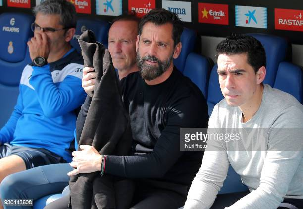 Quique Sanchez Flores during the match between RCD Espanyol and Athletic Club for the round 28 of the Liga Santander played at the RCD Espanyol...