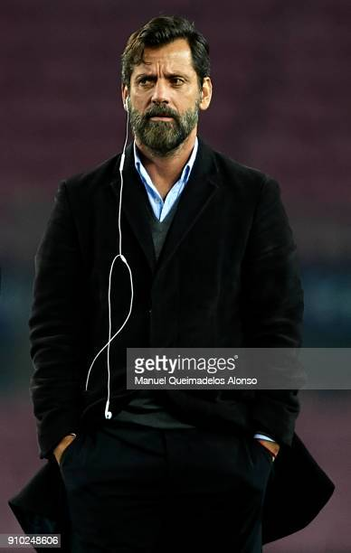 Quique Sanchez Flores Manager of Espanyol looks on prior to the Spanish Copa del Rey Quarter Final Second Leg match between Barcelona and Espanyol at...