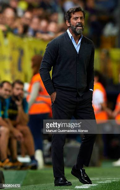 Quique Sanchez Flores Manager of Espanyol reacts during the La Liga match between Villarreal and Espanyol at Estadio De La Ceramica on September 21...