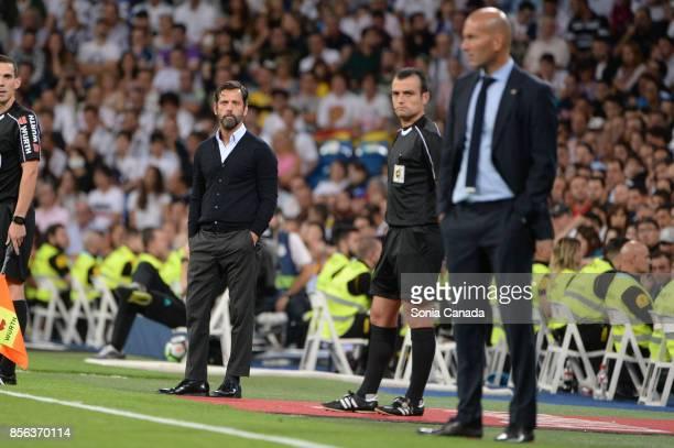 Quique Sanchez Flores manager of RCD Espanol during the La Liga match between Real Madrid v Espanyol at Santiago Bernabeu on October 1 2017 in Madrid...