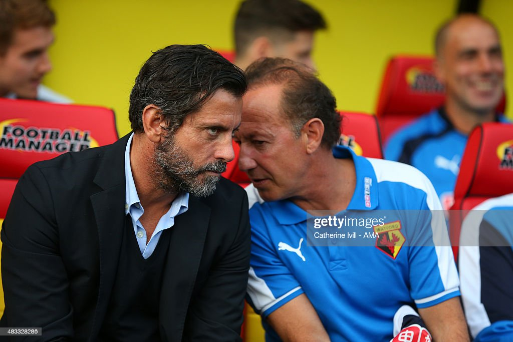 Quique Sanchez Flores manager of Watford and assistant coach Alberto Giraldez before the pre-season friendly between Watford and Seville at Vicarage Road on July 31, 2015 in Watford, England.