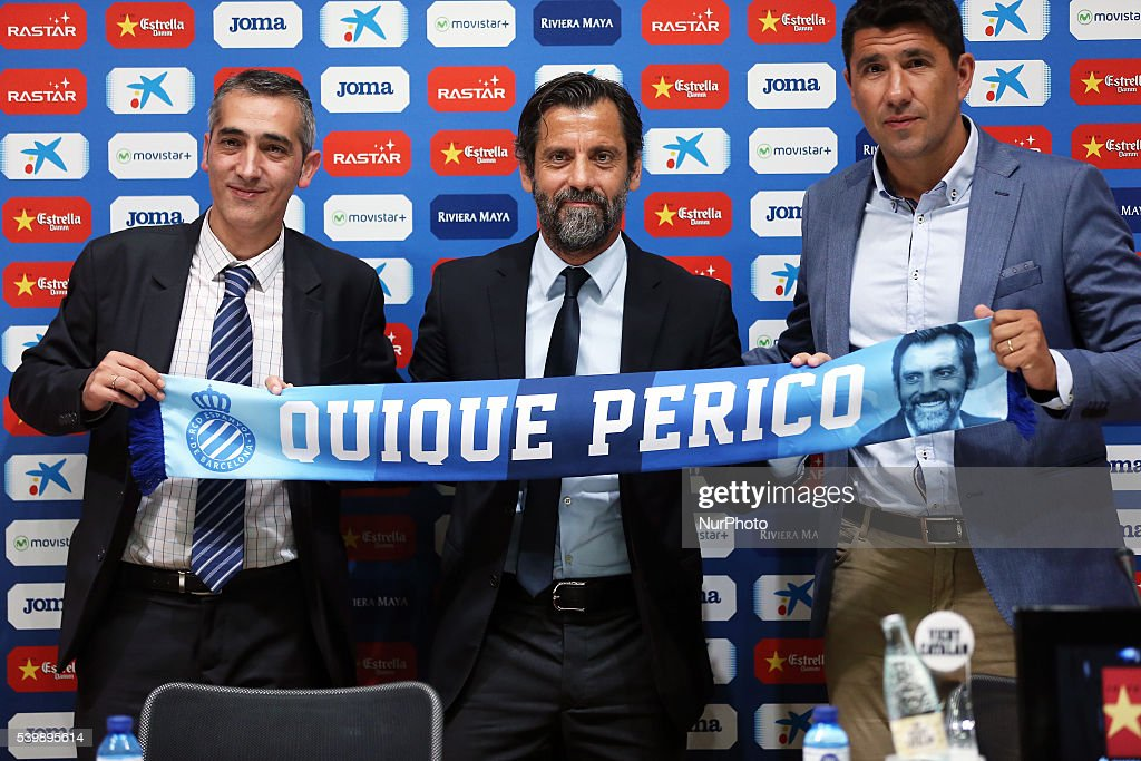 Quique Sanchez Flores, Ramon Robert and Angel Gomez in the presentation of the new trainer of the RCD Espanyol, on june 13, 2016.