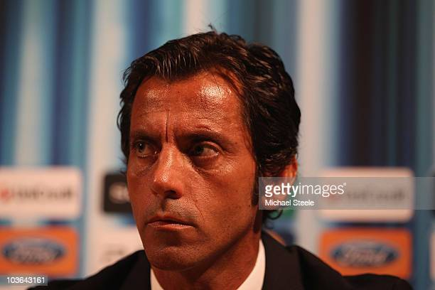 Quique Sanchez Flores the coach of Atletico Madrid during a press conference at the Grimaldi Forum on August 26 2010 in Monaco Monaco