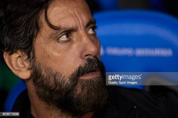 Quique Sanchez Flores the manager of RCD Espanyol looks on prior to the La Liga match between Deportivo La Coruna and Espanyol at on February 23 2018...