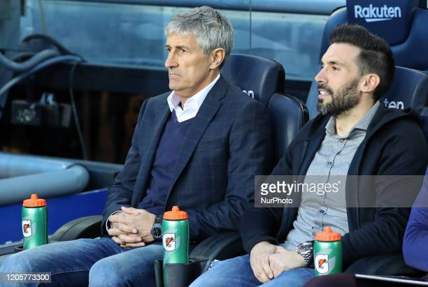 Quique Setien and Eder Sarabia during the match between FC Barcelona and Real Sociedad corresponding to the week 27 of the Liga Santander played at...
