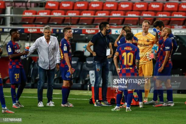 Quique Setien coach of FC Barcelona talkin his players during an hydratation pause during La Liga match between FC Barcelona and CA Osasuna behind...