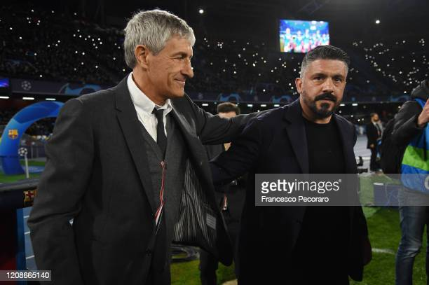 Quique Setien FC Barcelona coach greets Gennaro Gattuso SSC Napoli coach before the UEFA Champions League round of 16 first leg match between SSC...