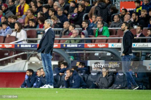 Quique Setien head coach of Barcelona and Eder Sarabia assistant coach of Barcelona on the sideline during the Barcelona V Real Sociedad La Liga...