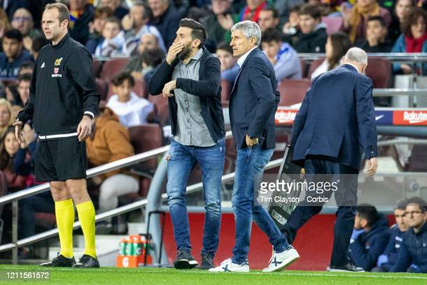Quique Setien head coach of Barcelona and Eder Sarabia assistant coach of Barcelona covering his mouth while talking during the Barcelona V Real...