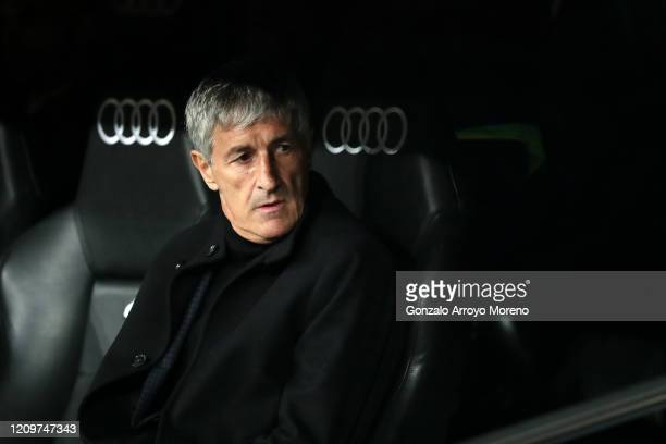 Quique Setien Head Coach of Barcelona looks on prior to the Liga match between Real Madrid CF and FC Barcelona at Estadio Santiago Bernabeu on March...