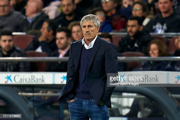 Quique Setien head coach of FC Barcelona during the Liga match between FC Barcelona and Real Sociedad at Camp Nou on March 07 2020 in Barcelona Spain