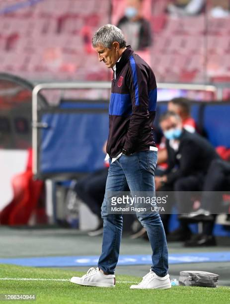 Quique Setien Head Coach of FC Barcelona looks dejected during the UEFA Champions League Quarter Final match between Barcelona and Bayern Munich at...
