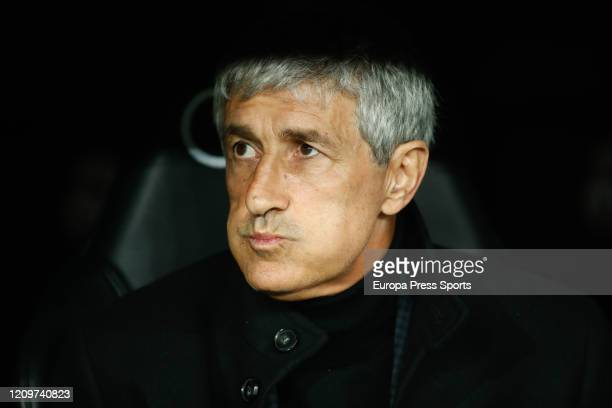Quique Setien head coach of FC Barcelona looks on during the Spanish League La Liga football match played between Real Madrid CF and FC Barcelona at...