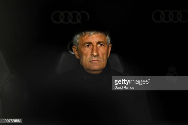Quique Setien Head Coachof Barcelona looks on prior to the Liga match between Real Madrid CF and FC Barcelona at Estadio Santiago Bernabeu on March...