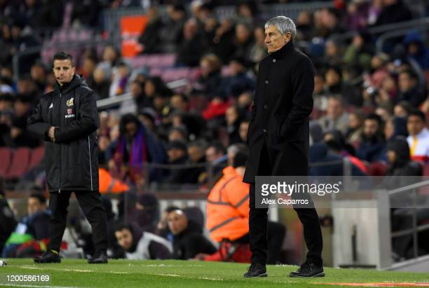 Quique Setien Manager of Barcelona looks on during the La Liga match between FC Barcelona and Granada CF at Camp Nou on January 19 2020 in Barcelona...