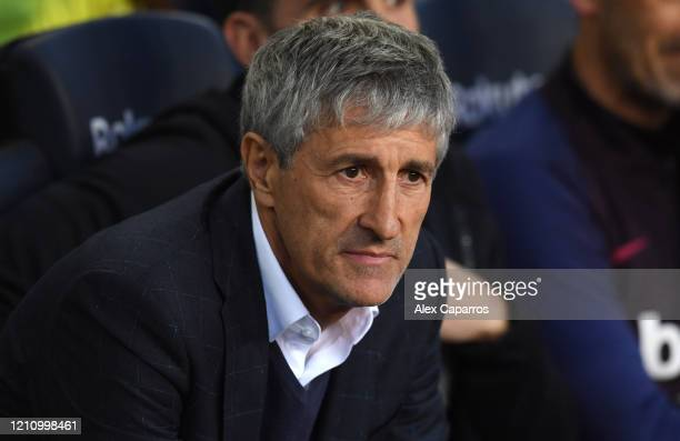 Quique Setien Manager of Barcelona looks on during the La Liga match between FC Barcelona and Real Sociedad at Camp Nou on March 07 2020 in Barcelona...